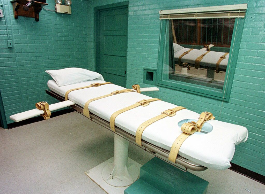 This February, 29, 2000, file photo shows the execution chamber at the Texas Department of Criminal Justice Huntsville Unit in Huntsville, Texas, where convicted death row inmates are executed by lethal injection.