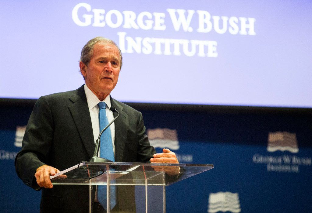 Former President George W. Bush speaks at the graduation of the 2017 class of the Bush Institute's Liberty and Leadership Forum on Monday, June 26, 2017 at the George W. Bush Presidential Center on the campus of Southern Methodist University in Dallas.