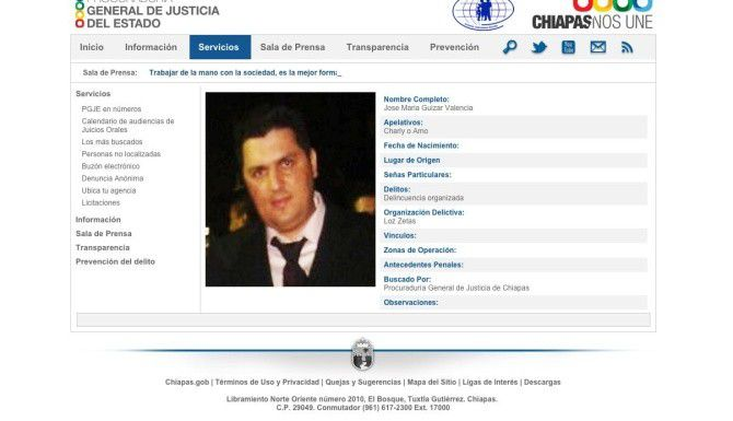 José María Guizar Valencia también se encuentra entre los más buscados por la Procuraduría de Chiapas.