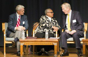 From left: Don Williams, Vicki Meek and Walt Humann participated in a Fair Park panel at Hall of State on Jan. 26. (Smiley N. Pool/Staff Photographer)