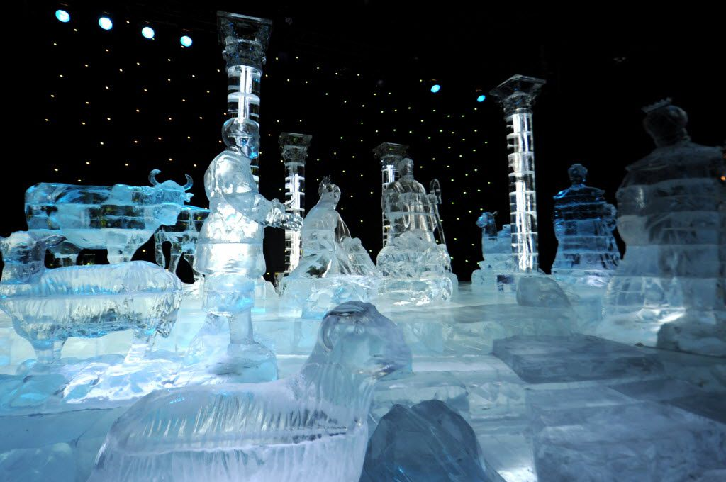 The life-size nativity scene carved of crystal-clear ice is an annual part of the Gaylord Texan ICE! exhibit.