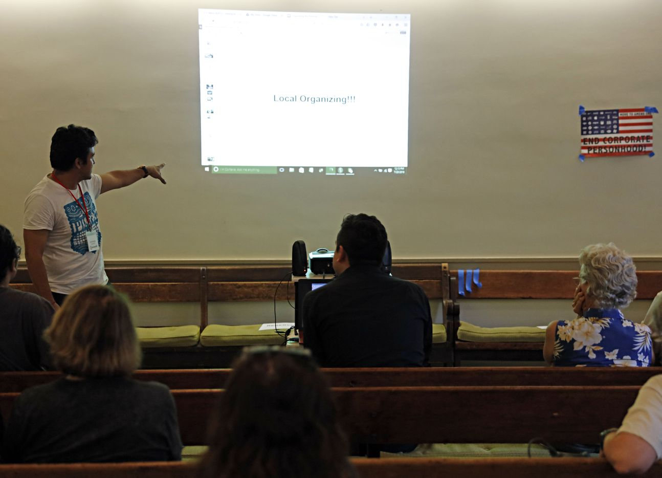 Byron Sigcho of Chicago hosted a lecture on community organizing during the People's Convention on Saturday ahead of the Democratic National Convention in Philadelphia.