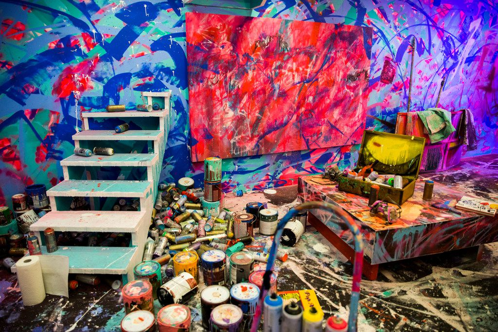 Artwork by not.travis depicts his workspace, moved into a room inside Psychedelic Robot.