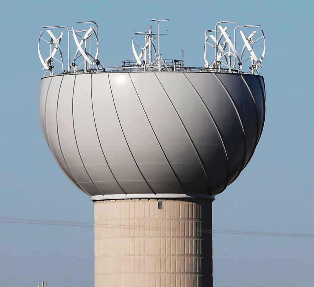 The notorious wind turbines on top of a water tower in Addison.