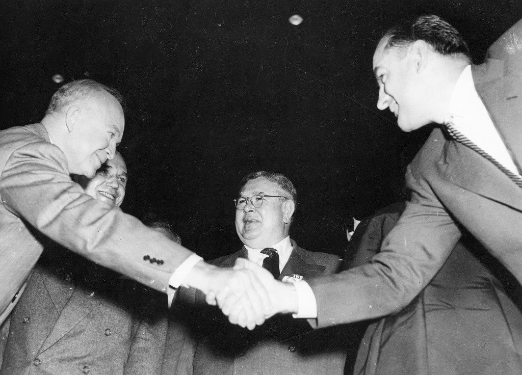 Dwight D. Eisenhower, campaigning in Milwaukee on Oct. 3, 1952, tried unsuccessfully to avoid shaking hands with Sen. Joseph McCarthy.  The two men hated each other.