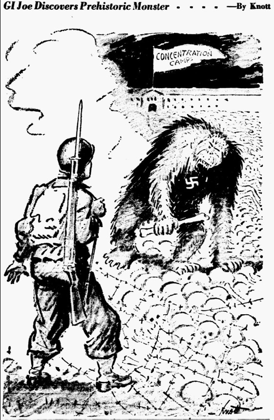 Cartoon featured in the April 21, 1945 edition of The Dallas Morning News.