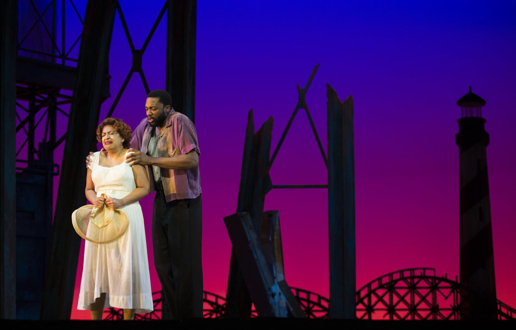 """Indira Mahajan and Norman Garrett performed during a dress rehearsal of the Fort Worth Opera's production of Gershwin's """"Porgy and Bess"""" on April 24, 2019, at Bass Concert Hall in Fort Worth."""