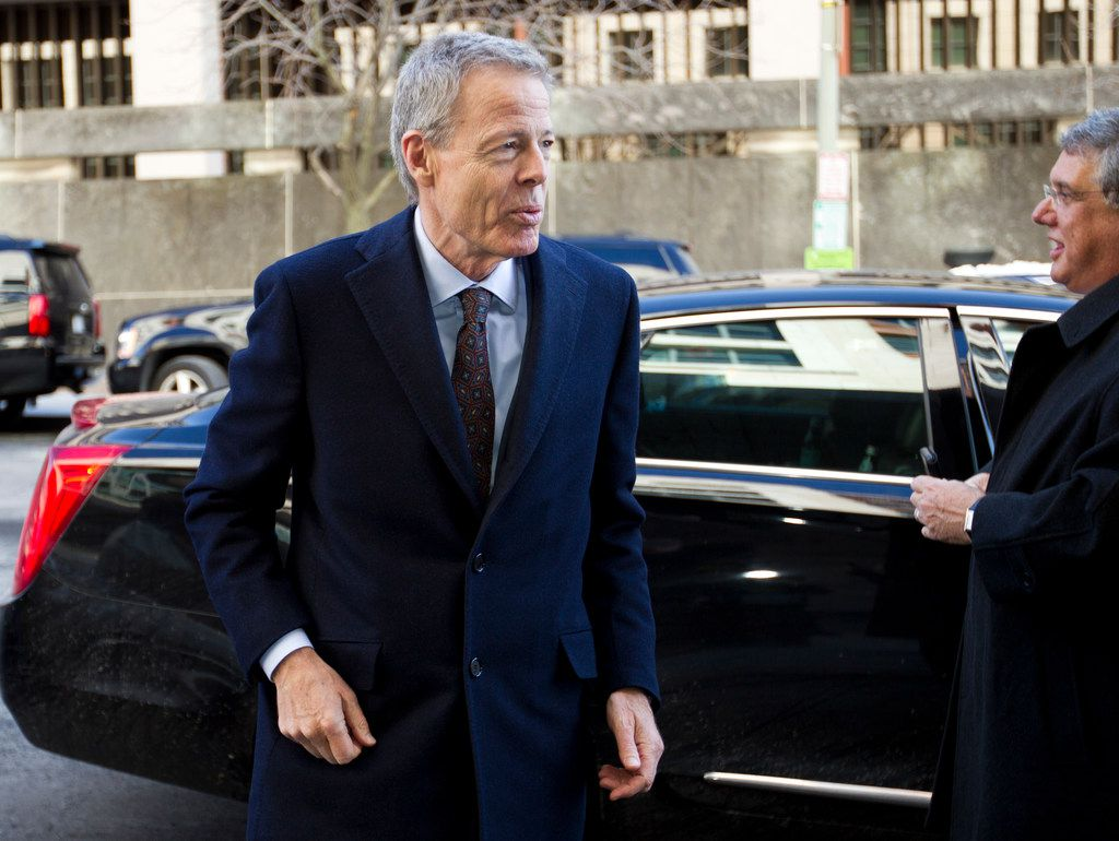 Time Warner CEO Jeff Bewkes arrives at the federal courthouse in Washington on Thursday, the first day of  a federal trial as the U.S. seeks to block his company's proposed merger with Dallas-based AT&T.