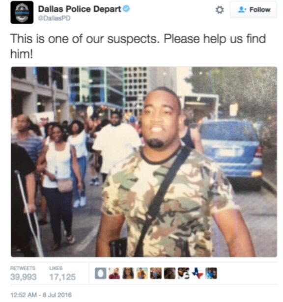 A tweet circulated by the Dallas Police Department identified Mark Hughes as a suspect in the downtown Dallas shooting.