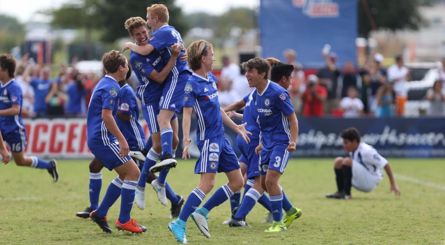 El Solar Chelsea Red 02 Stricker venció  1-0 a Tuzos Academy 02 de Arizona en la final Sub-15 varonil del torneo nacional de US Youth Soccer. Foto Twitter US Youth Soccer.