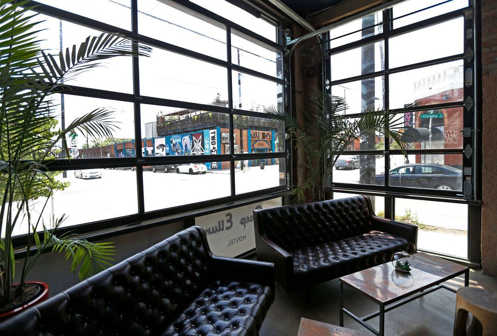 Adjacent to the lobby of Deep Ellum Hostel is the attached bar & kitchen called Izkina in Dallas, Thursday, July 12, 2018. (Jae S. Lee/The Dallas Morning News)