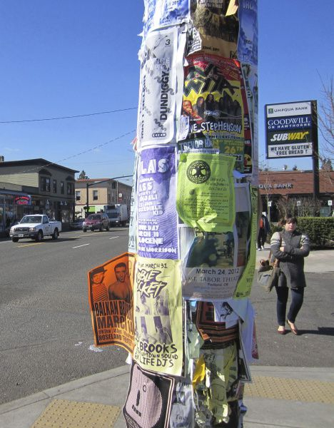 """Seemingly every pole in Portland is covered with fliers, reminiscent of the flier-war sketch in the """"Blunderbuss"""" episode."""