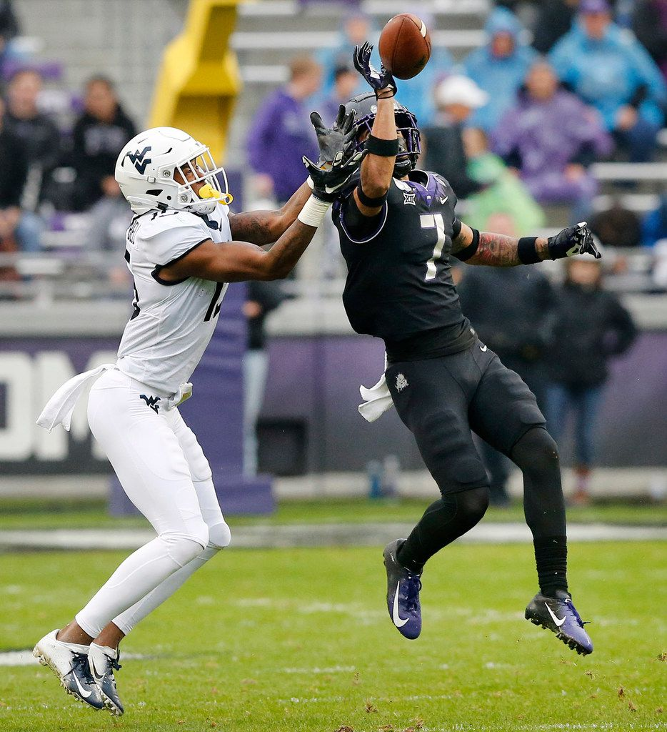 TCU Horned Frogs safety Trevon Moehrig (7) swats away a long pass intended for West Virginia Mountaineers wide receiver George Campbell (15) in the first quarter at Amon G. Carter Stadium in Fort Worth, Friday, November 29, 2019.(Tom Fox/The Dallas Morning News)