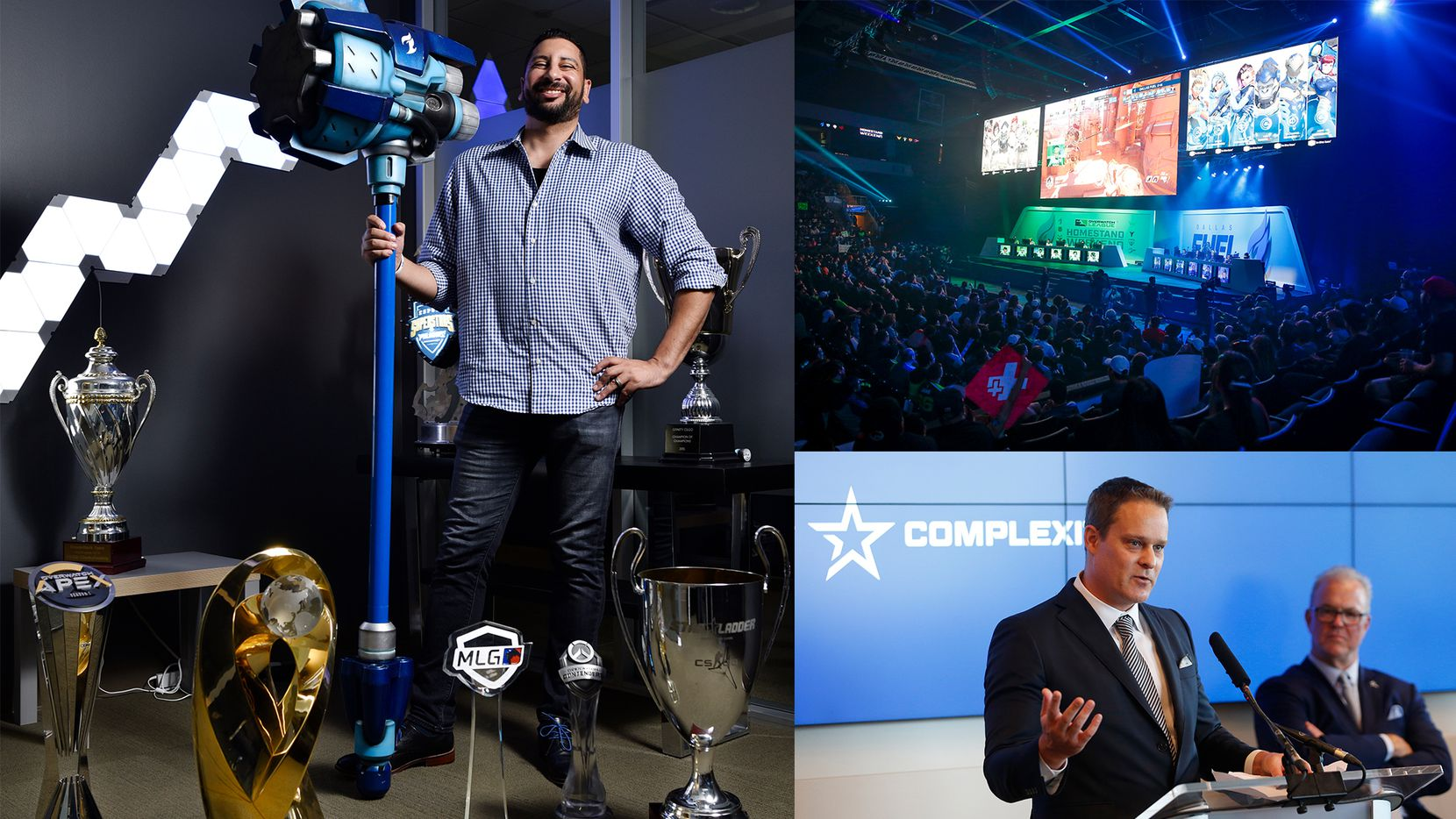 Mike Rufail, left, and Jason Lake, bottom right, brought Envy Gaming and Complexity Gaming to the burgeoning North Texas esports scene. In the top right, The Dallas Fuel and Houston Outlaws square off in the first Overwatch League homestand weekend at Allen Events Center.