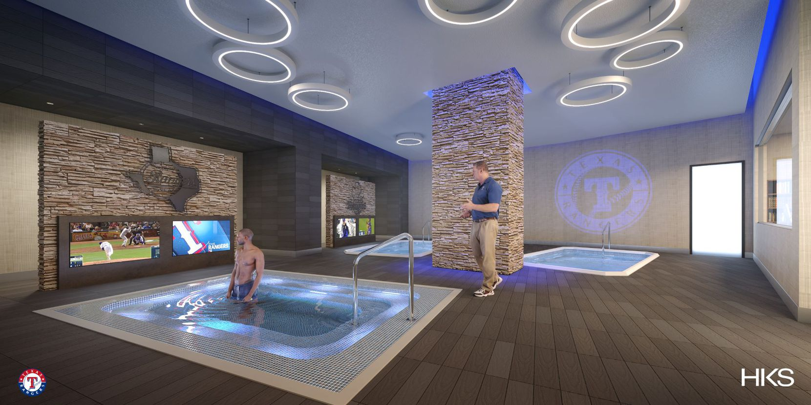 A rendering of the Rangers' hydrotherapy area at Globe Life Field.