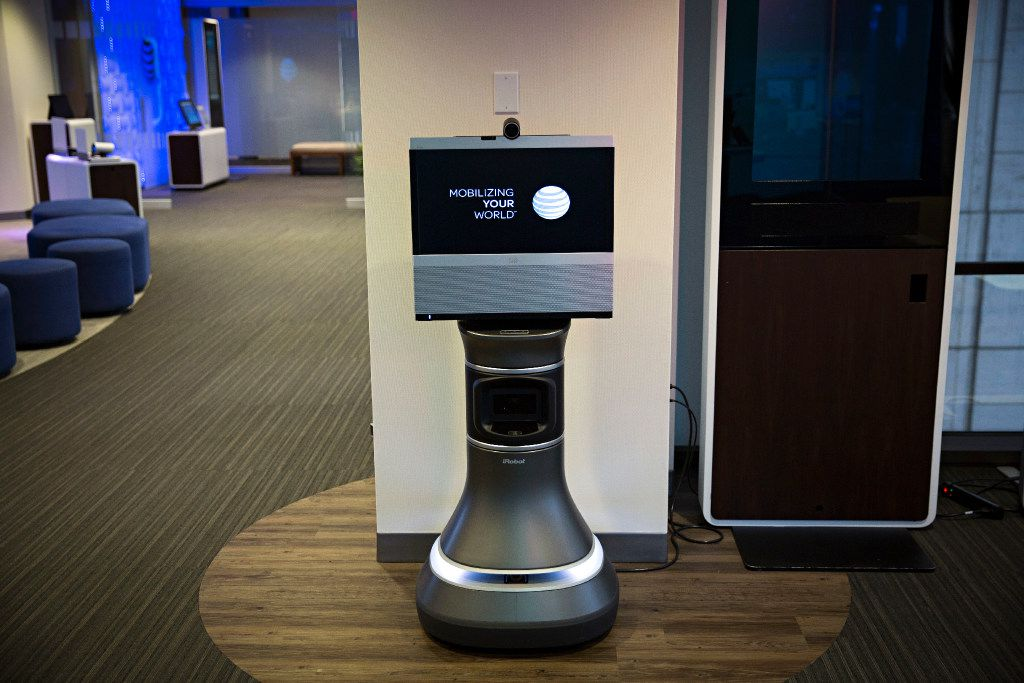 An iRobot Ava 500 teleconferencing unit stands inside the Technology Experience Center at AT&T's downtown headquarters building Tuesday, October 25, 2016 in Dallas. Employees use the room to work with new products and technologies available to AT&T customers. (G.J. McCarthy/The Dallas Morning News)