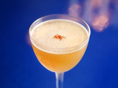 The Sidecar to Tangier with greek brandy, spice blend, orange liqueur, lemon and greek honey photographed at Zaytinya in Frisco, Texas on Monday, Feb. 5, 2018. (Rose Baca/The Dallas Morning News)