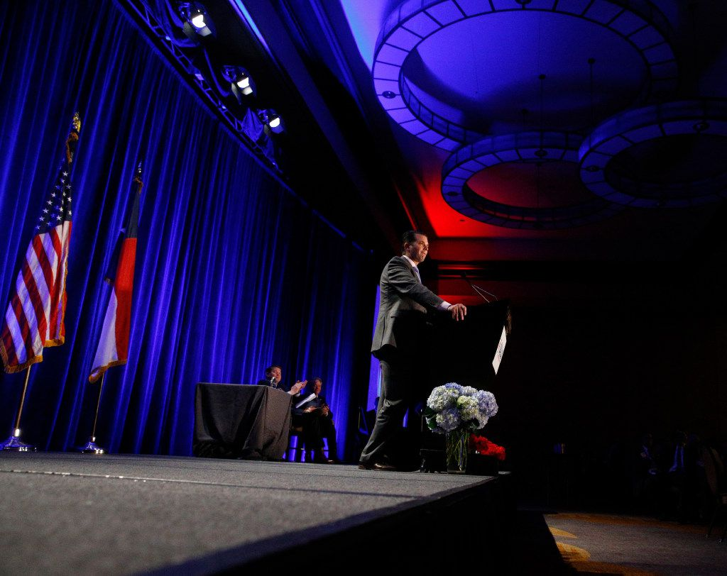 Donald Trump Jr. speaks during the Dallas County Republican Party's Reagan Day Dinner at the Omni Dallas Hotel in Dallas on March 11, 2017. (Nathan Hunsinger/The Dallas Morning News)