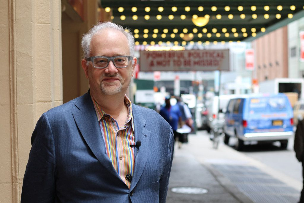 Highland Park High School alumnus Doug Wright in front of the marquee for War Paint, for which he wrote the libretto. Wright won a Tony Award and Pulitzer Prize for I Am My Own Wife.