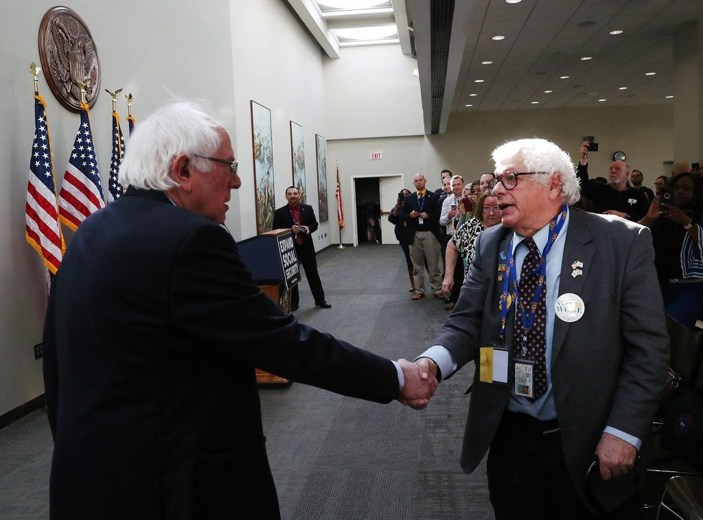 Sen. Bernie Sanders of Vermont greeted a supporter during a recent news conference on Capitol Hill to announce legislation to expand Social Security. Sanders' proposal would contribute to Social Security with payroll taxes on income above $250,000. On Feb. 16, news reports circulated that he had recorded a video announcing another run for president.