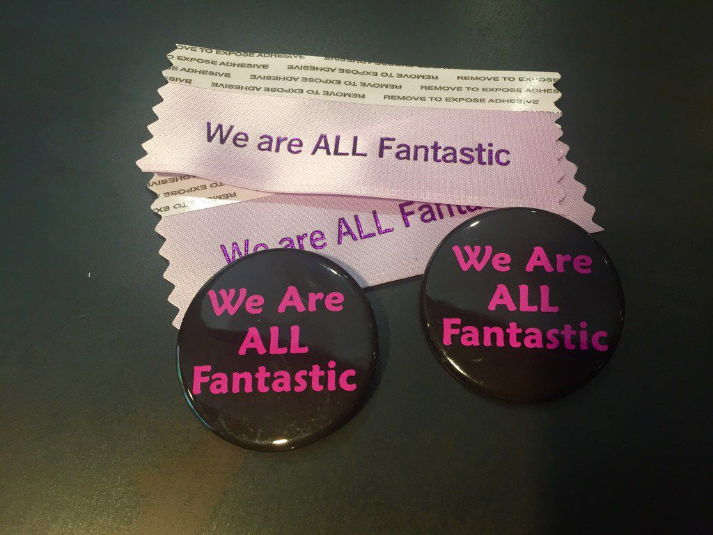 Photographer and film enthusiast Jessica Cargill made badge buttons and ribbons for patrons of Fantastic Fest who want to signal their interest in an inclusive and diverse festival.