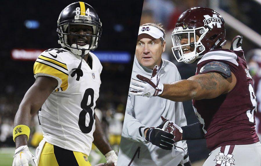 Receptor de Steelers Antonio Brown (izq.) y el tacle defensivo de Mississippi State Jeffery Simmons. Fotos de Getty Images