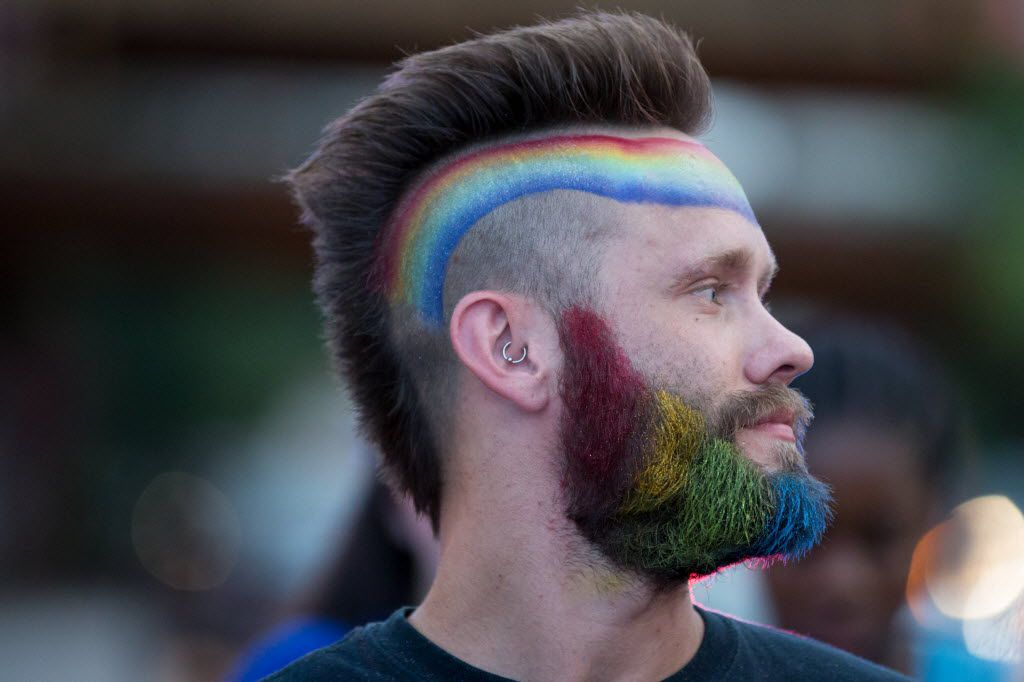Damon Mathew Farris, of Dallas during the Queer Bomb Dallas procession march though Deep Ellum streets on June 25, 2016 in Dallas. (Ting Shen/The Dallas Morning News)