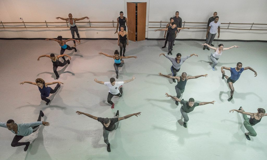 Members of Dallas Black Dance Theatre rehearse Andy Noble's dance Tower  at their studio on Oct. 24, 2017.