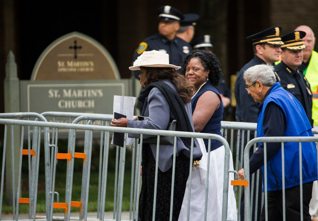 Members of the public arrive to view the casket of former first lady Barbara Bush on Friday, April 20, 2018 at St. Martin's Episcopal Church in Houston. Bush died on Tuesday and her funeral services are on Saturday. (Ashley Landis/The Dallas Morning News)
