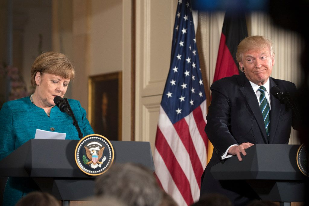 President Donald Trump and Chancellor Angela Merkel of Germany hold a joint news conference, at the White House in Washington, March 17, 2017. Trump criticized Germany on Saturday for paying too little to both NATO and the United States for security support, a day after he held a chilly meeting at the White House with Merkel that showcased the two leadersÕ disagreements. (Stephen Crowley/The New York Times)