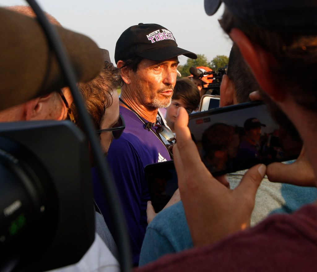 Art Briles, new head coach for the Mount Vernon Tigers, answers a plethora of questions following his team's first practice session. The Class 3a Tigers hit the field for it's first fall football practice session at Mount Vernon High School in Mount Vernon on August 5, 2019. (Steve Hamm/ Special Contributor)