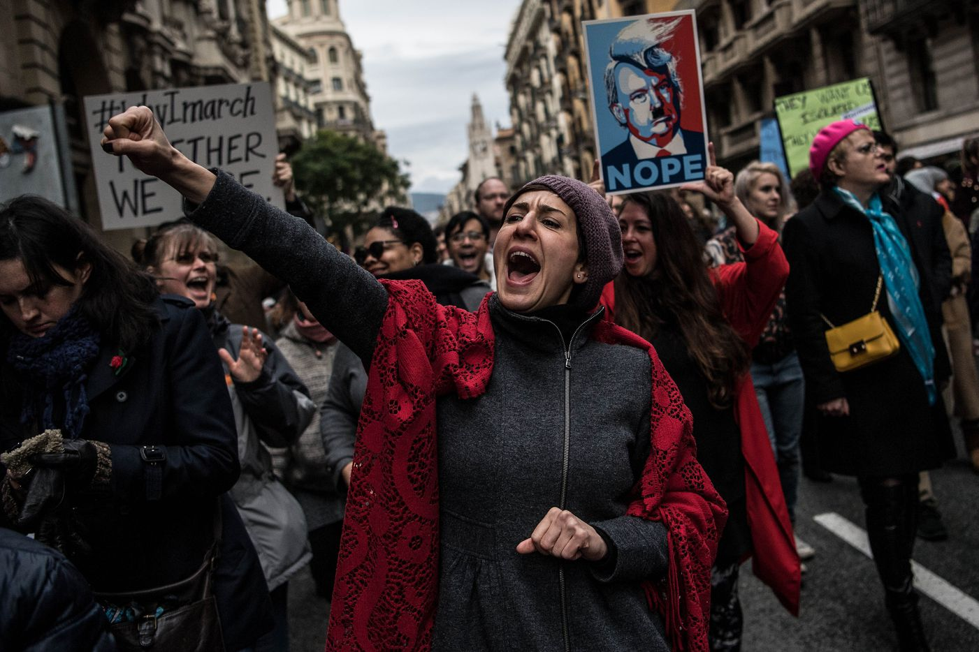 Demonstrators make their way during the Women's March on January 21, 2017 in Barcelona, Spain. Global marches are now being held, on the same day, across seven continents.