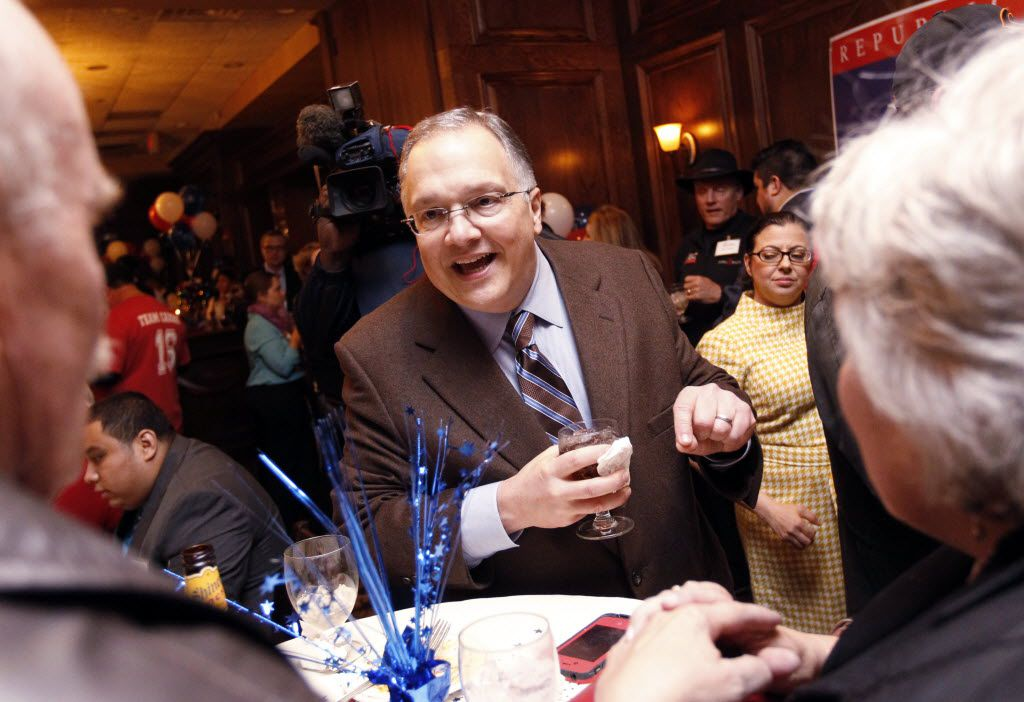 Former state Sen. John Carona, pictured in his primary elections result watching party in  March  2014, appears to have bundled donations of his two young children for former Dallas City Council candidate Paul Reyes in two 2015 elections.