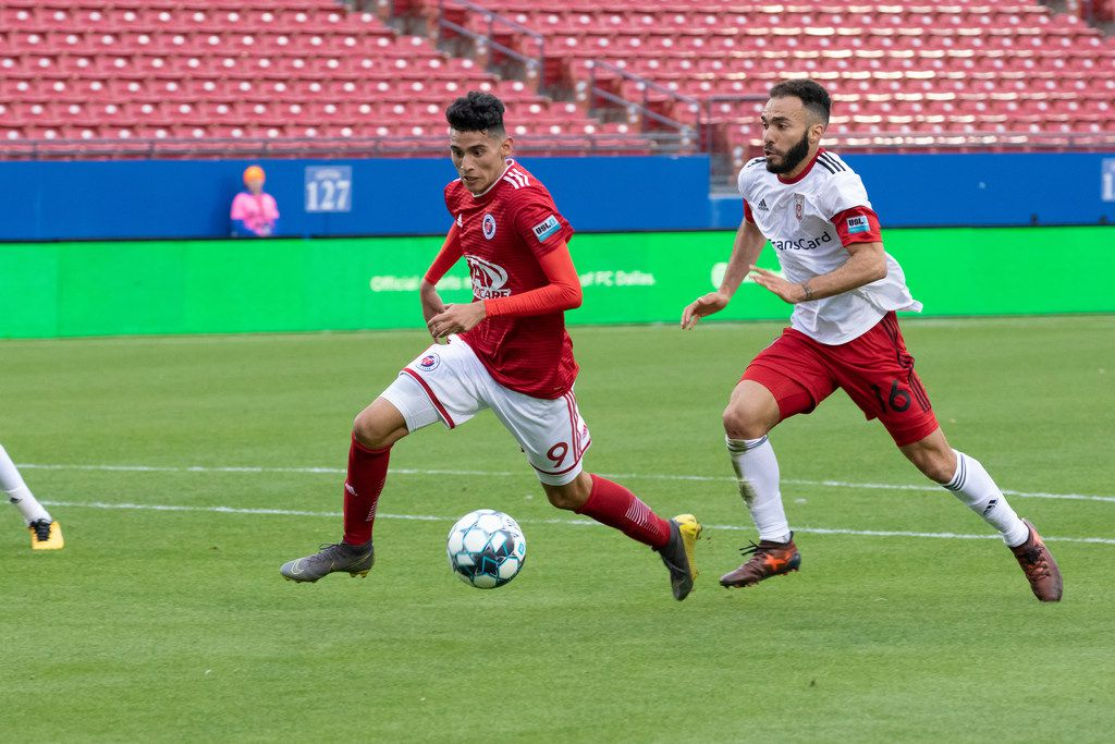 North Texas SC forward Ricardo Pepi was the first player signed to the USL team in early 2019. He is pictured here in a March 30, 2019, game against Chatanooga at Toyota Stadium in Frisco, Texas. Pepi scored three times in a 3-2 win. (Courtesy/FC Dallas)
