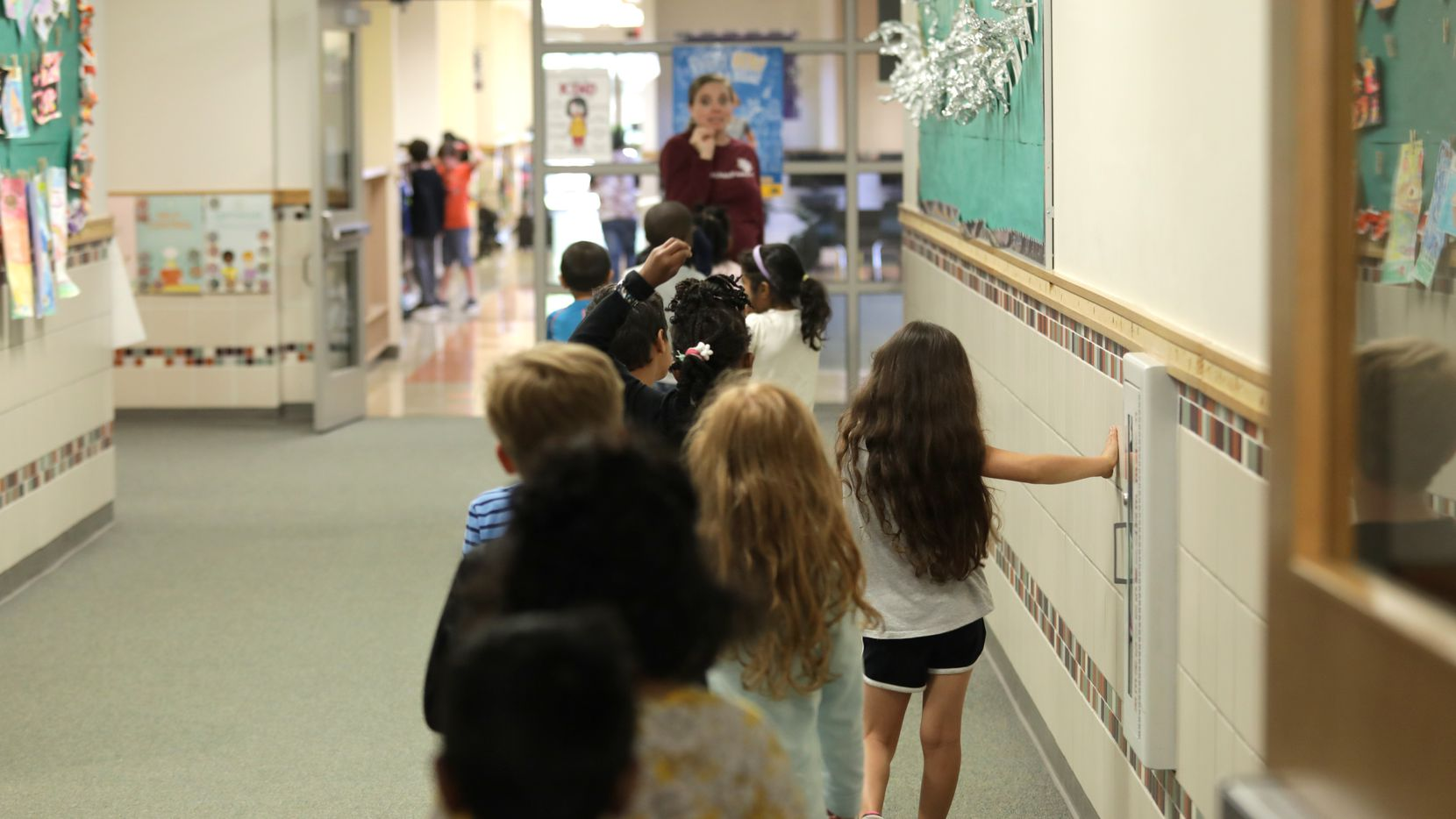 Students walked to class at Isbell Elementary School in Frisco during the 2019 spring semester.