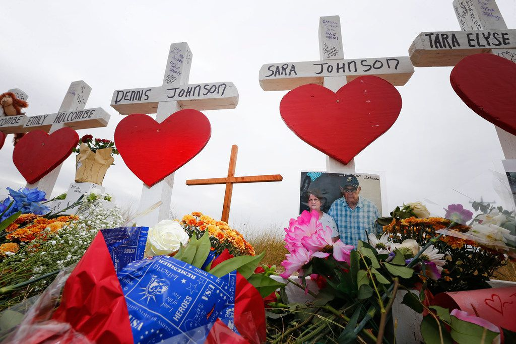 Dennis and Sara Johnson's memorial in front of First Baptist Church in Sutherland Springs, Texas on Nov. 10, 2017. The church in Sutherland Springs, Texas was the site of a shooting that killed 26 parishioners and left 30 injured.