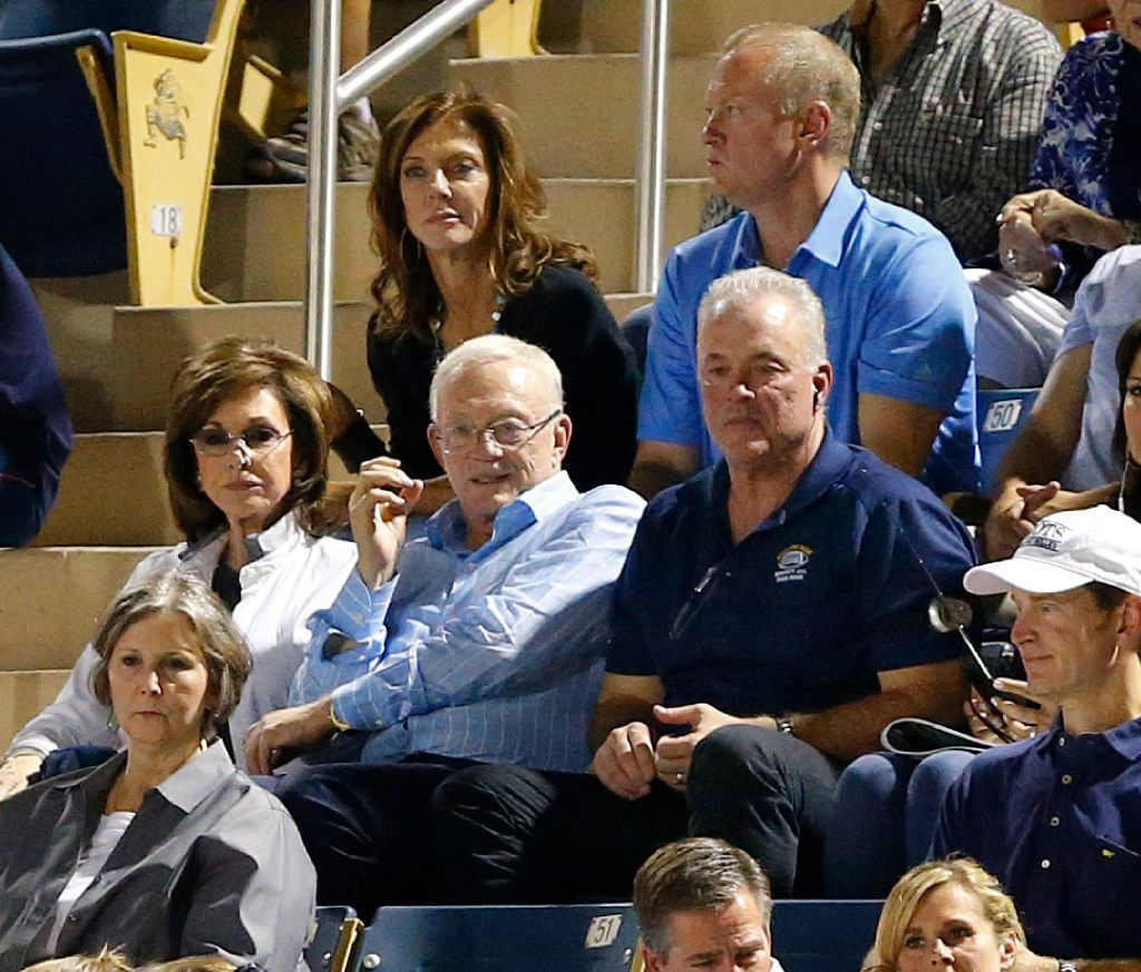 Dallas Cowboys owner Jerry Jones and his wife Gene are joined by their kids, from back left, Charlotte Jones Anderson, Jerry Jones Jr. and Stephen Jones as they watched Stephen's son John Stephen Jones play quarterback for Highland Park High School in a game, against Lovejoy in 2016.