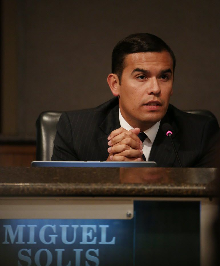 Dallas ISD trustee Miguel Solis, 30, became DISD's youngest trustee when he won a special election for the District 8 seat in 2013. (Andy Jacobsohn/Staff Photographer)