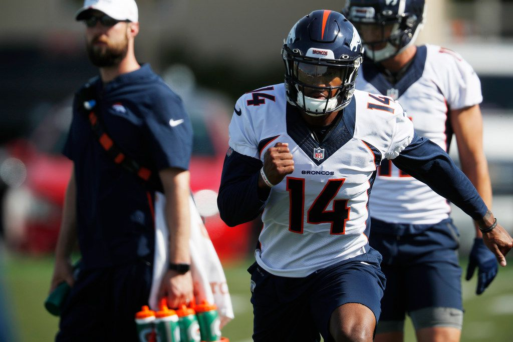 Denver Broncos wide receiver Courtland Sutton takes part in drills during the opening day of the team's NFL football training camp Thursday, July 18, 2019, in Englewood, Colo. (AP Photo/David Zalubowski)