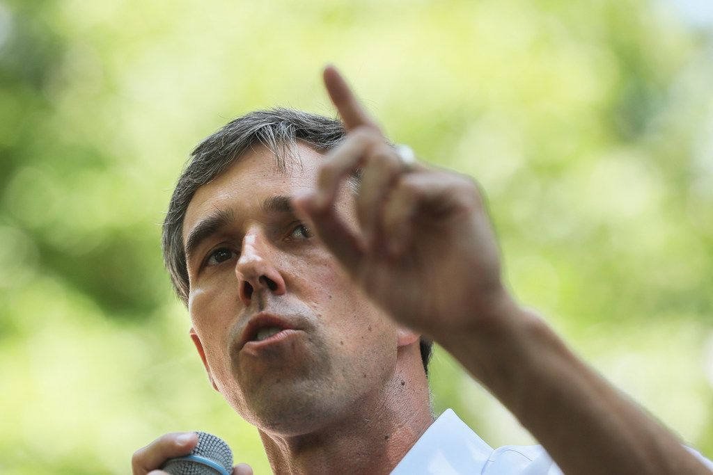 Democratic presidential candidate, former U.S. Rep. Beto O'Rourke speaks at the Manchester Democrats annual Potluck Picnic at Oak Park in Manchester, N.H., Saturday, July 13, 2019.