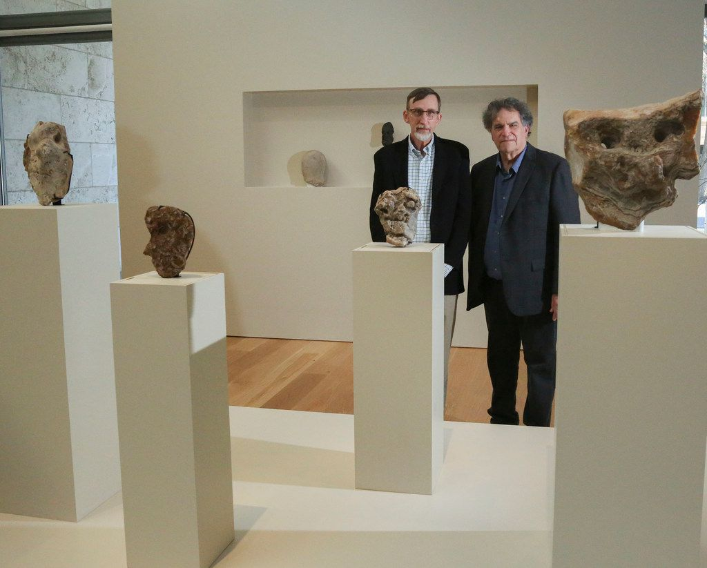 Thomas Wynn, left, a professor of anthropology at the University of Colorado and West Coast artist Tony Berlant at the Nasher 'First Sculpture' exhibit in Dallas