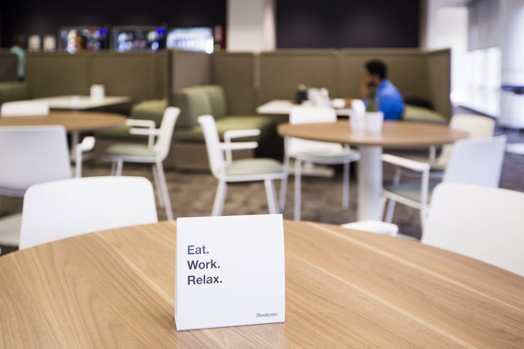 A lounge area furnished by Steelcase. (Smiley N. Pool/The Dallas Morning News)