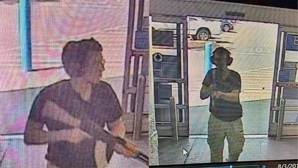 Surveillance images captured the gunman entering an El Paso Walmart where 20 people were killed on Saturday morning. (AFP/Getty Images via KTSM-TV)