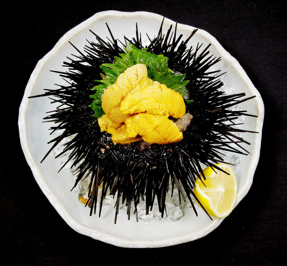 This is a live sea urchin prepared by Chef Teiichi Sakurai of Tei-An.