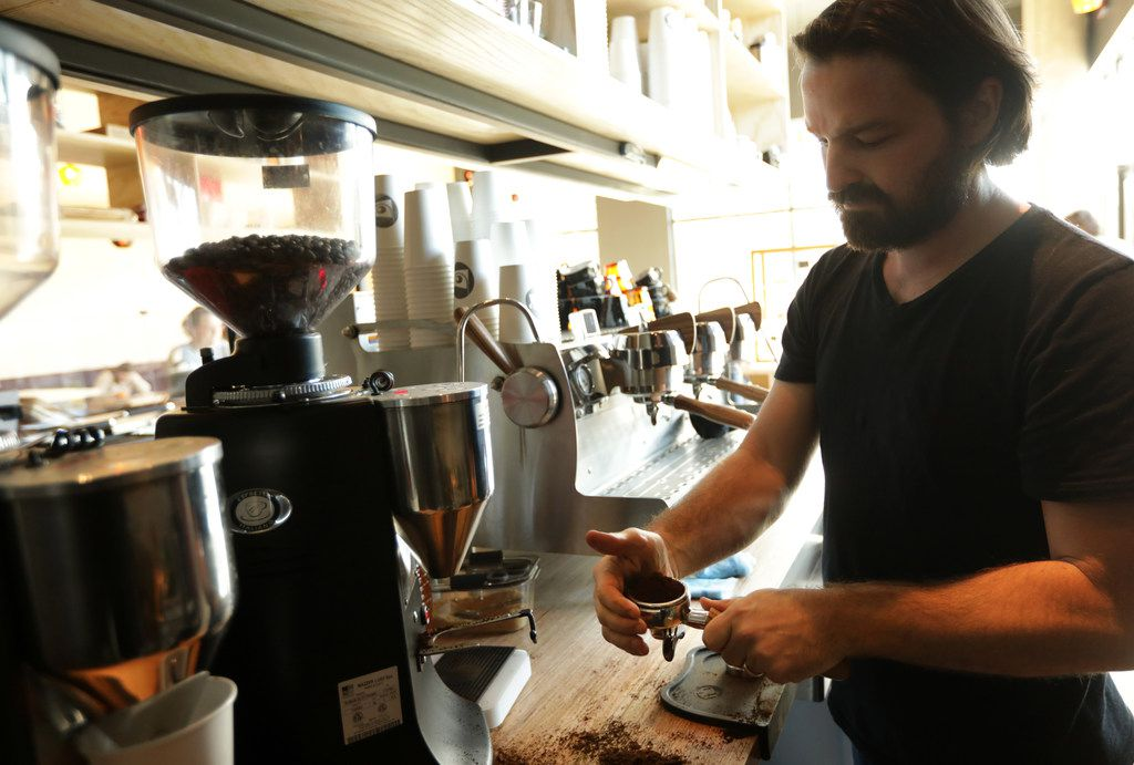 Mark Lowes makes a coffee drink at LDU Coffee in Dallas, TX, on Jan. 22, 2018.