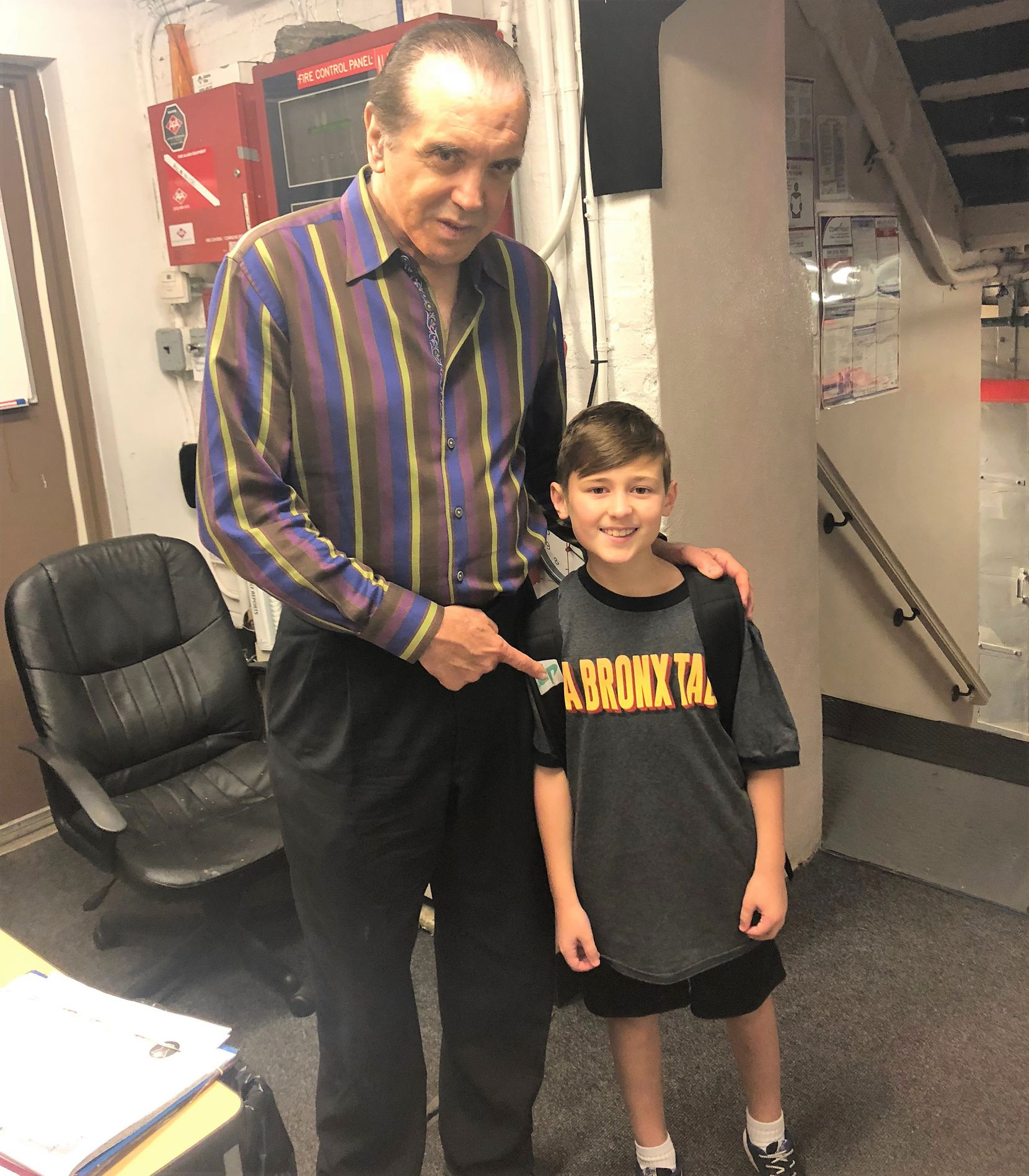 Chazz Palminteri with Frankie Leoni backstage at A Bronx Tale at the Longacre Theater in New York City.