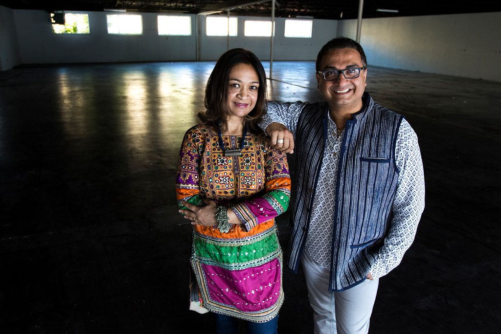 "Anu Basu Agarwal (left) and Jitin Hingorani, co-founders of Dallas Indian Arts Collective, pose for a photograph in the building they plan to rent out for events in Dallas on June 8, 2018. ""This event space is going to be a home for all the artists we bring in from India,"" Hingorani said."