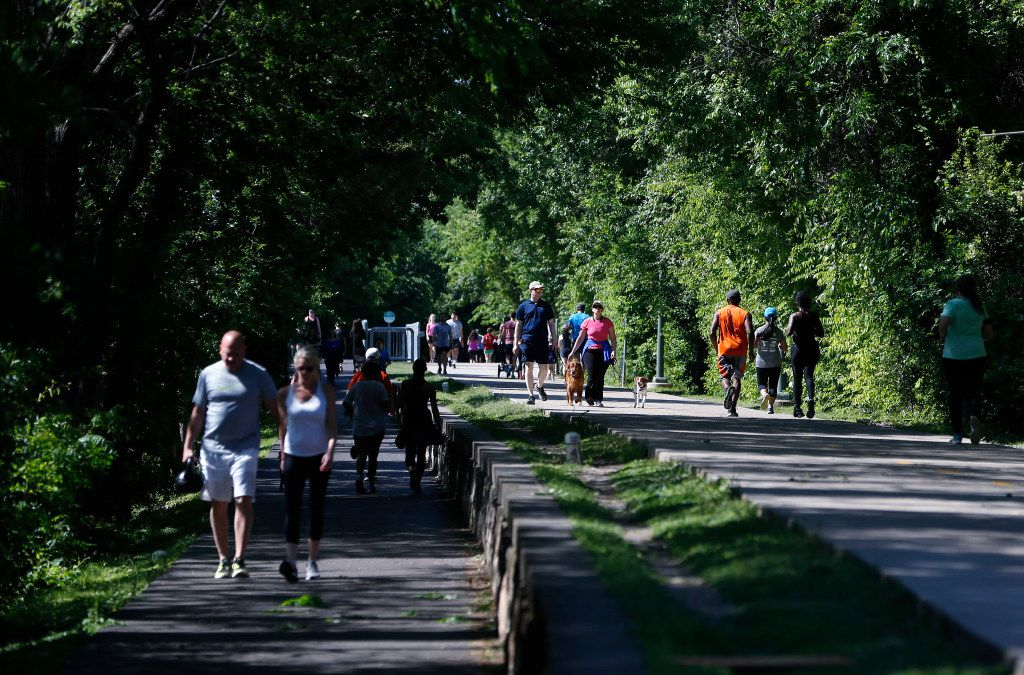 About 80 to 100 people join Luke's Pint Striders on Thursdays to run the Katy Trail before convening back at British Beverage Co.