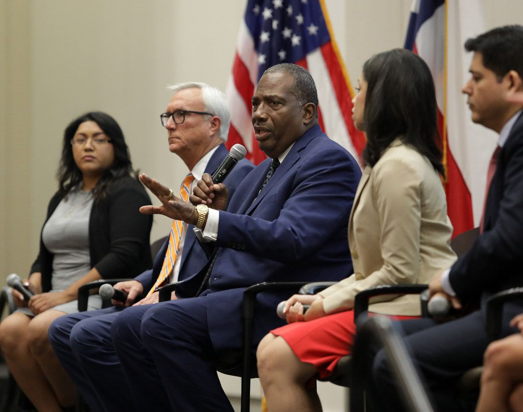 Royce West speaks during a Democratic Senate candidate debate at the Collin College Preston Ridge Campus in Frisco, TX, on Sep. 5, 2019. Shown (seated from left), are Sema Hernandez, former U.S. Rep. Chris Bell, State Sen. Royce West, Houston Council member Amanda Edwards, and Adrian Ocegueda.  The candidates are vying to lead the race to unseat Republican Senator John Cornyn of Texas. One of the contest's leading contenders, former Air force helicopter pilot and businesswoman MJ Hegar, did not attend the forum. (Jason Janik/Special Contributor)
