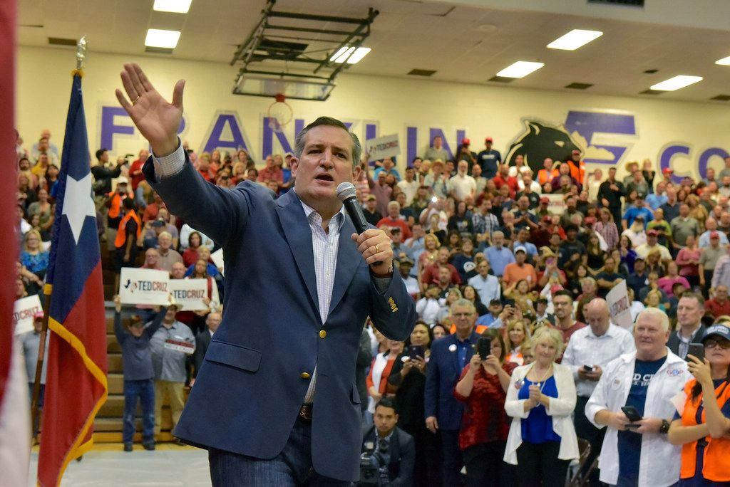 Texas Sen. Ted Cruz addressed his supporters during a rally Saturday at Franklin High School in El Paso.